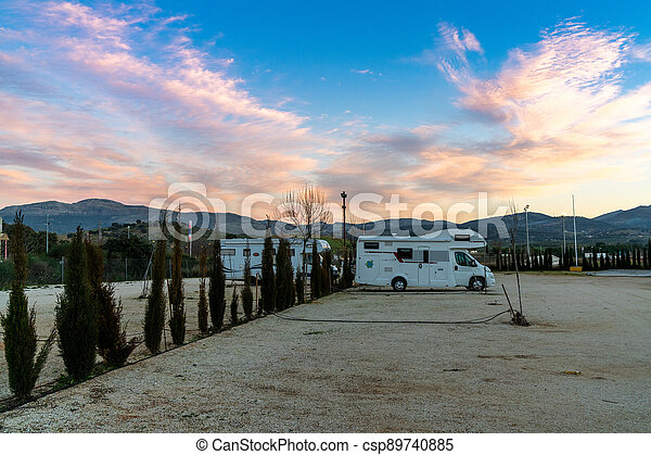 modern caravan and RV park in Andalusia at sunset - csp89740885
