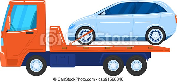 Modern cars, tow trucks, special vehicles for automobile transportation, cartoon style vector illustration, isolated on white. - csp91568846