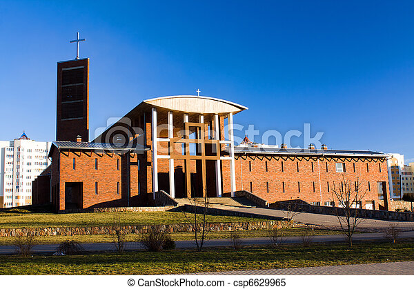 Modern Catholic church - csp6629965