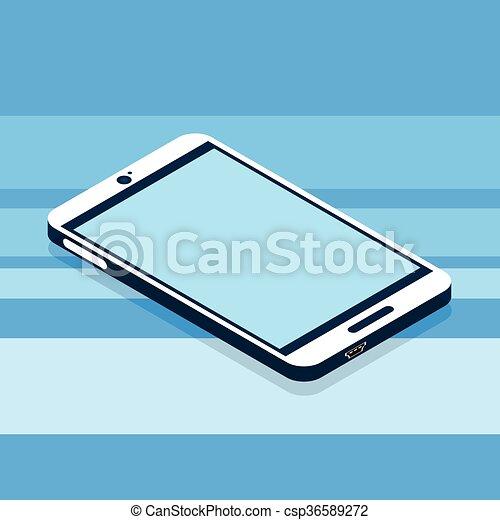 Modern Cell Smart Phone 3d Isometric Flat Design - csp36589272