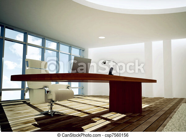 modern ceo office 3d rendered of modern and