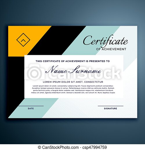 modern certificate design in yellow geometric shapes - csp47994759