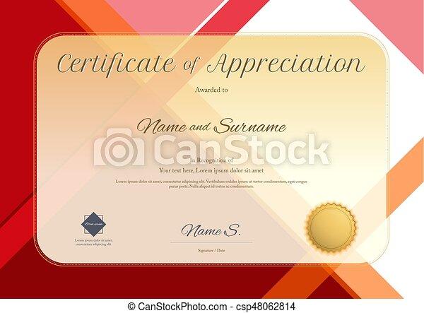 Modern certificate of appreciation template with modern vector modern certificate of appreciation template with modern colorful pattern in vector illustration yadclub Gallery