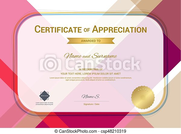 Modern certificate of appreciation template with modern vector modern certificate of appreciation template with modern colorful pattern in vector illustration yadclub Image collections