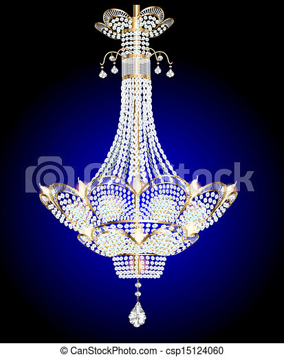 Clip Art Vector of modern chandelier with crystal pendants on a ...
