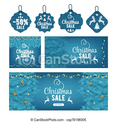 Modern christmas sale decor set, great design for any purposes. Christmas tree and light. Concept event advertising. Shopping concept. Color art. Sale banner layout design. Card, banner, tag, label. - csp76198305