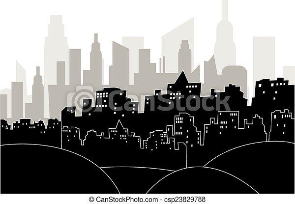 Modern city by night - csp23829788