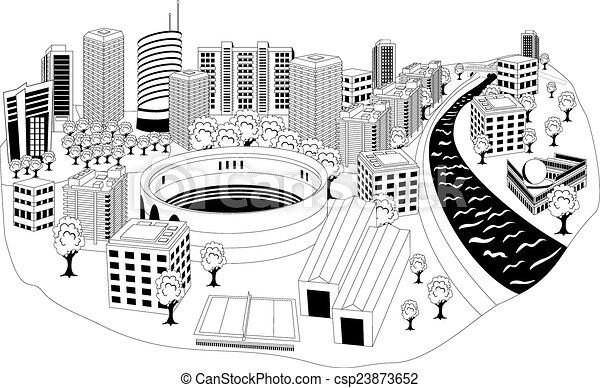 modern city metropolis black and white illustration of a