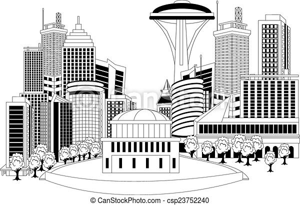 Modern City Metropolis Black And White Illustration Of A Cityscape