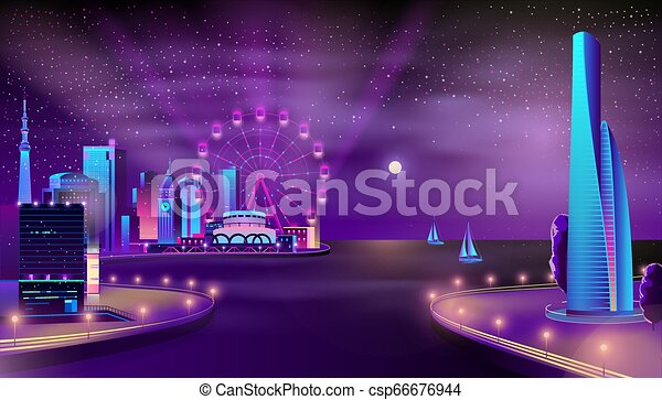 Modern city quay night landscape cartoon vector - csp66676944