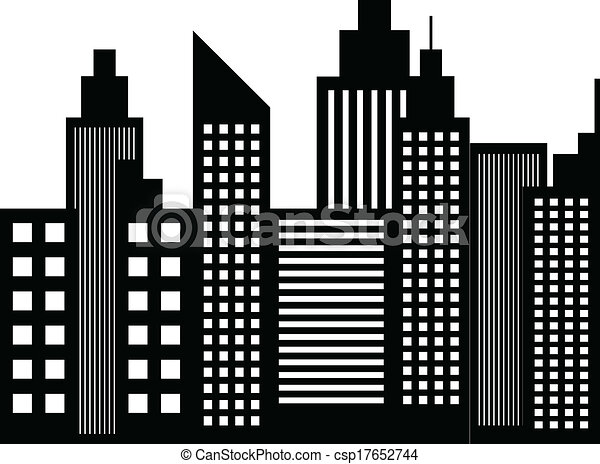 Modern City Skyscrapers Buildings Silhouettes Vector eps vector