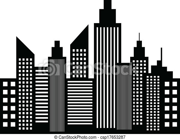 Modern City Skyscrapers Buildings Silhouettes Vector vector
