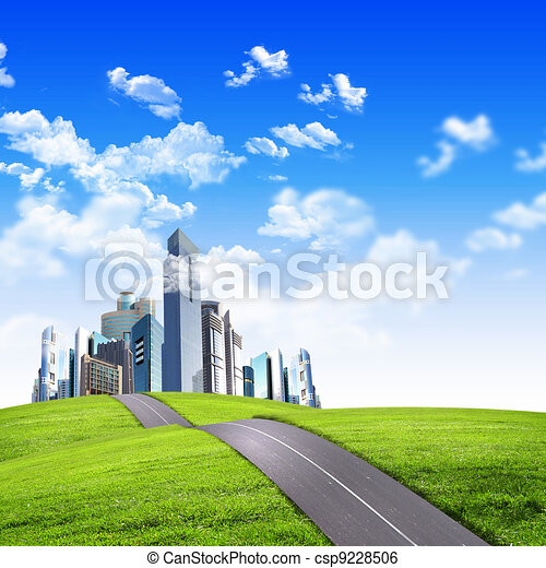 Modern city surrounded by nature landscape - csp9228506