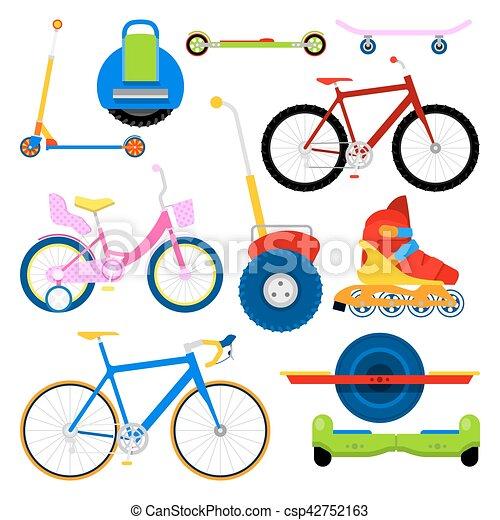 modern city transportation set with bikes roller skates clip rh canstockphoto com transportation clip art images transportation clipart printable