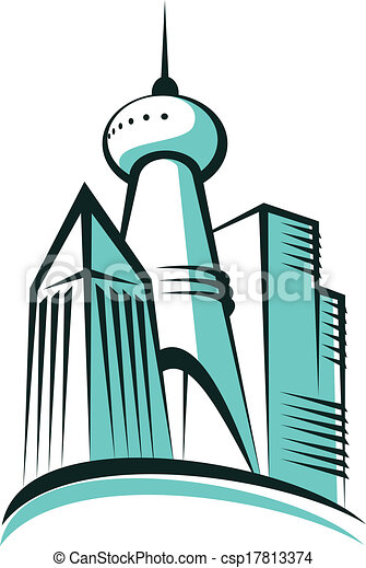 Modern city with a communications tower - csp17813374