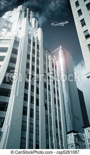 Modern City with plane - csp5261087