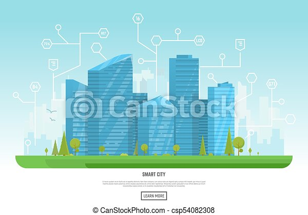 Modern city with skyscrapers - csp54082308