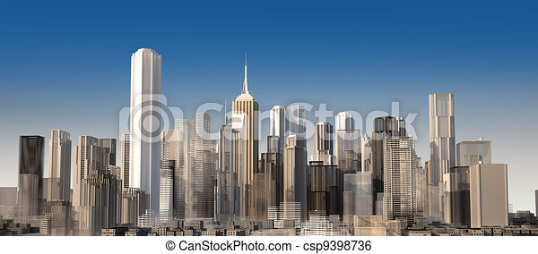 Modern cityscape in daylight. Close up view. - csp9398736