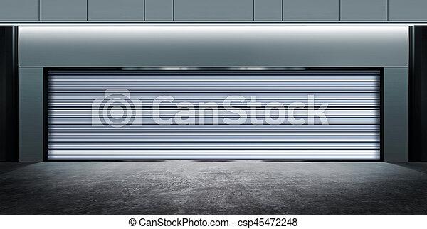 modern closed garage at night - csp45472248