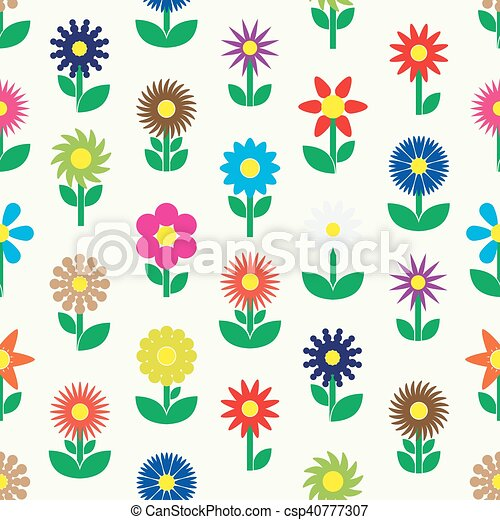 modern colorful simple retro small flowers set of icons seamless pattern eps10 - csp40777307