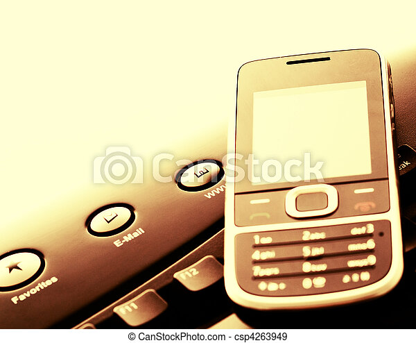 Modern communication - mobile phone and e-mail - csp4263949