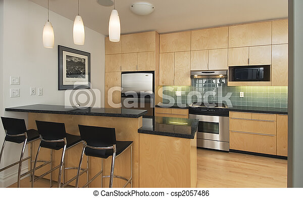 Elegant Modern Contemporary Kitchen Stock Photo