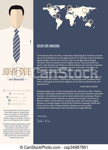 Modern cover letter template with business man - csp34987861