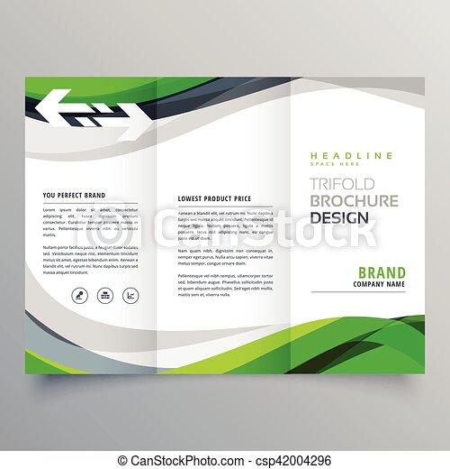 Modern creative trifold business brochure template with green modern creative trifold business brochure template with green abstract wave csp42004296 fbccfo Choice Image