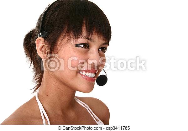 Modern Customer Service Smiling - csp3411785