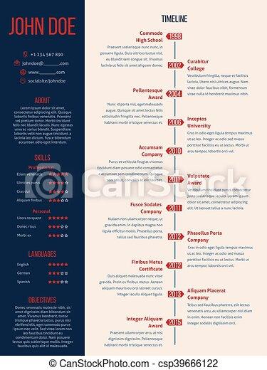 Modern Cv Resume With Detailed Timeline Vector  Timeline Resume