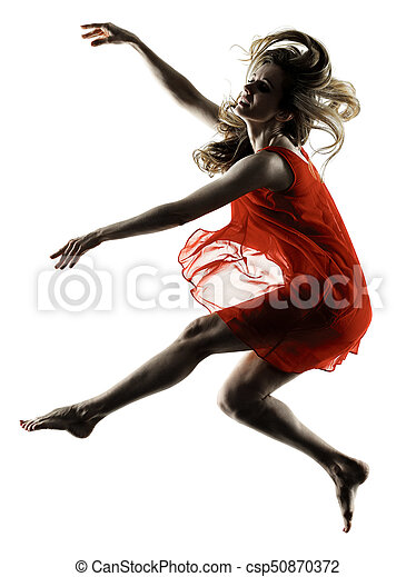 modern dancer dancing woman isolated silhouette - csp50870372