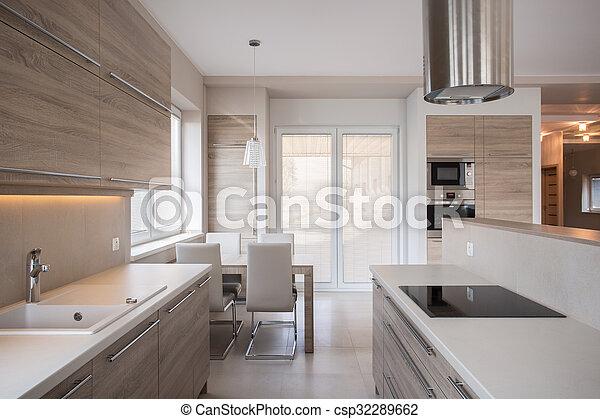 Modern, design, luxus, kueche . Modern, design, luxus, küche blick.