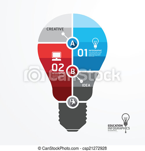 Modern Design Minimal style infographic template with light bulb - csp21272928