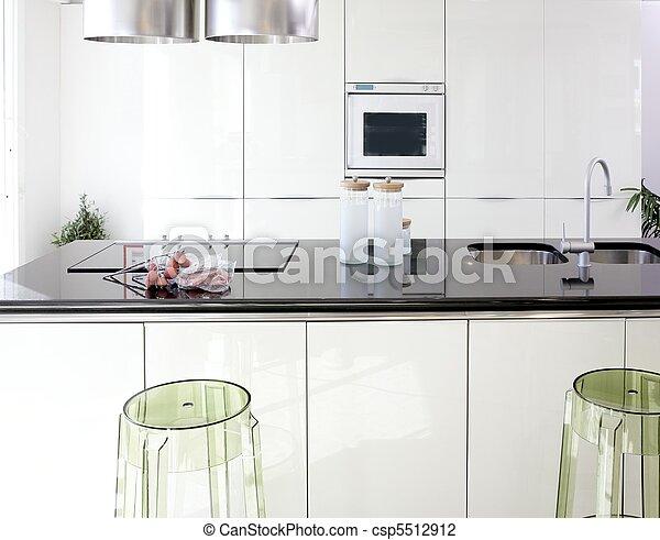 modern, design, sauber, inneneinrichtung, weißes, kueche  - csp5512912