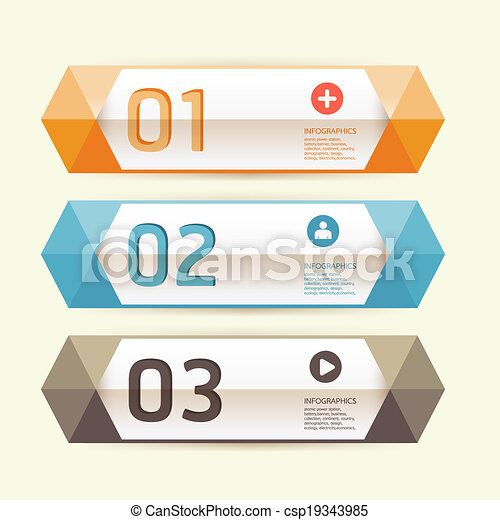 Modern Design template / can be used for infographics / numbered banners / horizontal cutout lines / graphic or website layout vector - csp19343985
