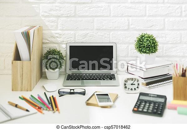 Modern designer workspace closeup - csp57018462