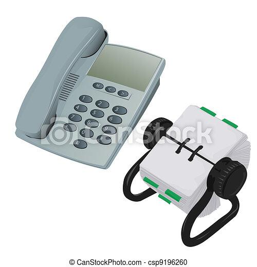 Modern Desk Phone and Rolodex Organiser - csp9196260