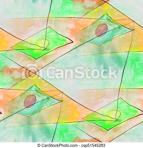 modern diamond, circle, green seamless watercolor artist wallpaper texture of handmade