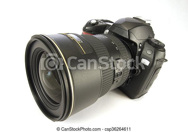 Modern Digital Camera Isolated On W - csp36264611