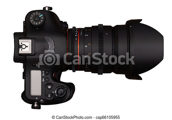 Modern digital camera isolated on white background. - csp66105955