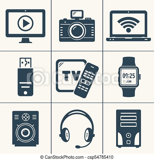 Modern Digital Devices And Electronic Gadgets Icons Vector