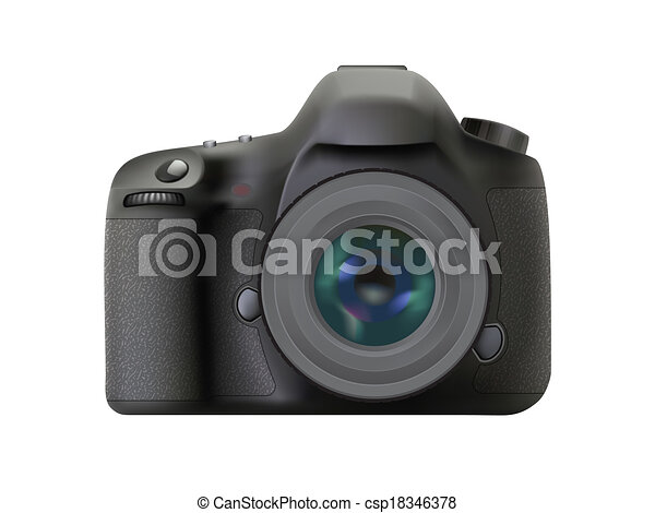 Modern digital reflex camera - csp18346378
