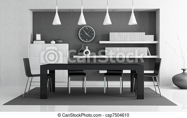 Modern Dining Room Black And White Contemporary Dining Room