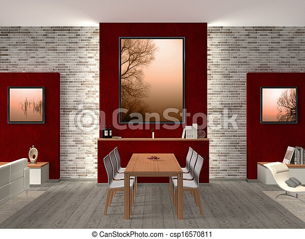modern dining room Interior - csp16570811