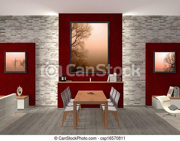 modern dining room Interior - csp16570811