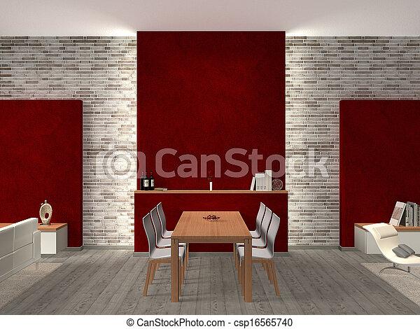 modern dining room Interior - csp16565740