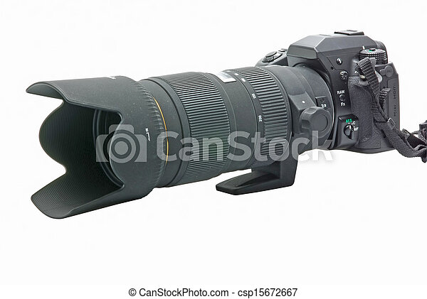Modern DSLR camera with zoom lens attached on white - csp15672667