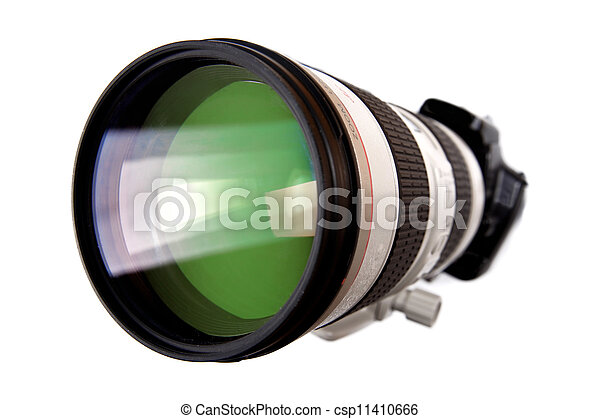 modern dslr digital camera with big lens isolated on white - csp11410666