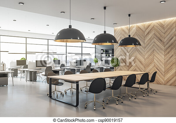 Modern eco style interior in open space office with big windows, wooden wall and conference table and concrete floor - csp90019157