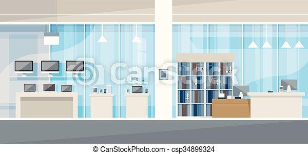 Modern electronics store shop interior vector illustration ...